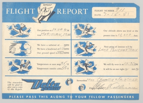 Delta Air Line In-Flight Report From 1951