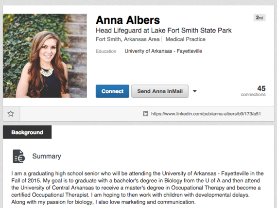 Recent Alma High School graduate Anna Albers has had a LinkedIn profile for years.