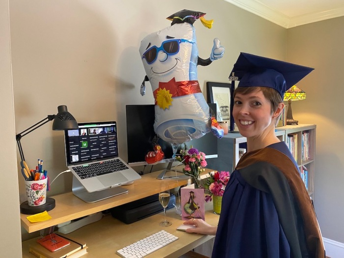Erica Swallow graduates virtually from Simmons University