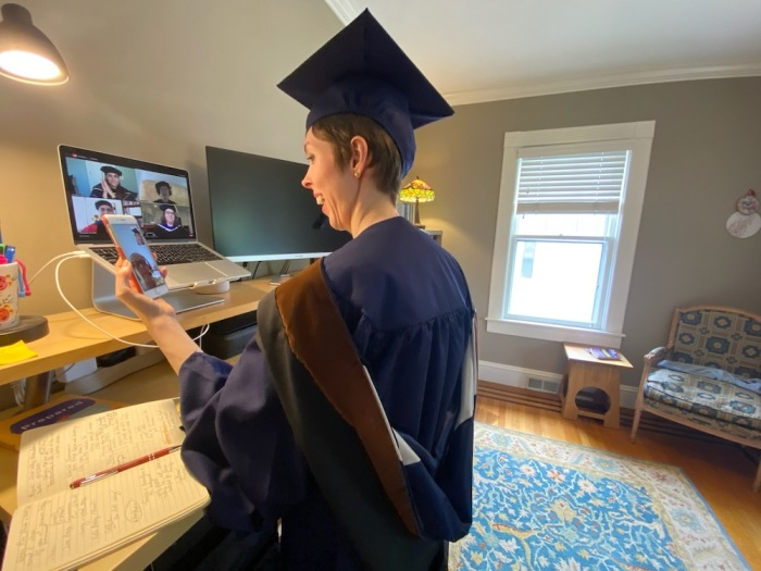 The author video calls her mother after the commencement closes. (Photo by Jordan Reynolds)