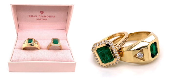 Emerald Ring by Erica Swallow for Jordan Reynolds engagement proposal